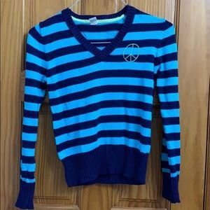 Girls Old Navy Striped Sweater Peace Sz 14